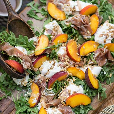 Emily's Fresh Kitchen, eat heal thrive, peach and burrata