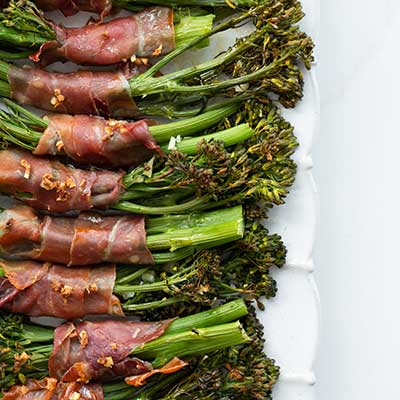 emily's fresh kitchen, broccolini, prosciutto wrapped broccolini
